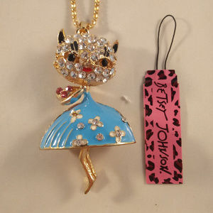 Betsey Johnson Cat Pendant Necklace + Gift